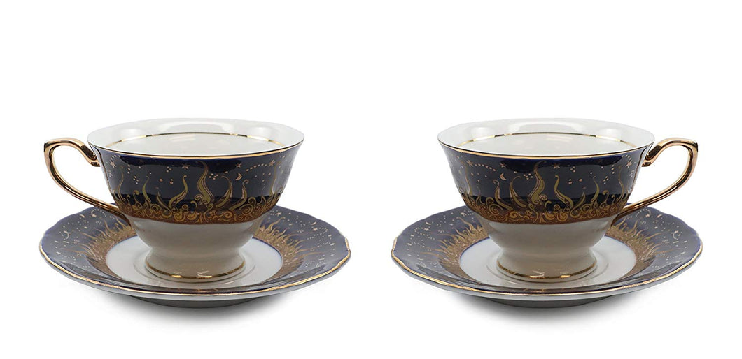 Royalty Porcelain 4-pc Tea or Coffee Cup Set for 2, Gold, Bone China (1109-4)