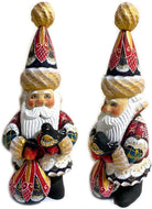 (D) Russian Souvenirs Santa Figurine with Bird and Bag Vintage