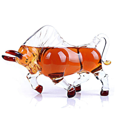 Animal Decanters Large 35-Oz Charging Bull Glass Figurine, Mouthblown Carafe