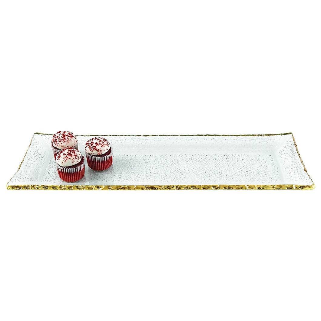 (D) Clear Bubble Glass Rectangular Serving Tray 18