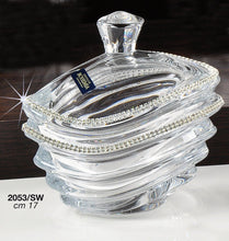 Italian Collection Crystal Bowl with Lid, Wave Design Decorated with Swarovski