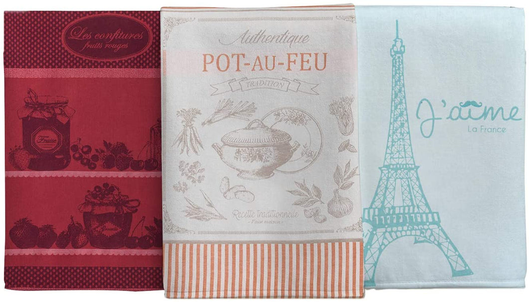 (D) Vintage French Style Kitchen Towels, Cotton Tea Towels 3-Pc (Kit #1)