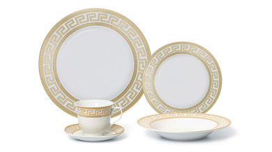 Royalty Porcelain 20-pc Old-Fashioned White Gold-plated Dinnerware Set For 4