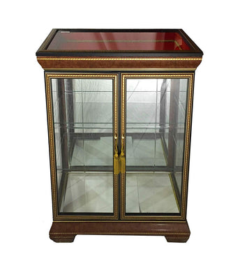 (D) Classic Style Cabinet with Tiny Carved Decor, Display Case 74 Inches