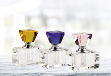 (D) 3 Pc Elegant Round Faceted Crystal Perfume Bottle Set with Rainbow Top Cap