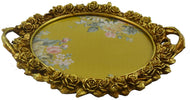 (D) Gold Serving Tray with Handles Round Vintage Platter 17'' for Breakfast