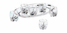 Italian Collection Crystal Set of Shot Glasses with Tray for 6 with Swarovski