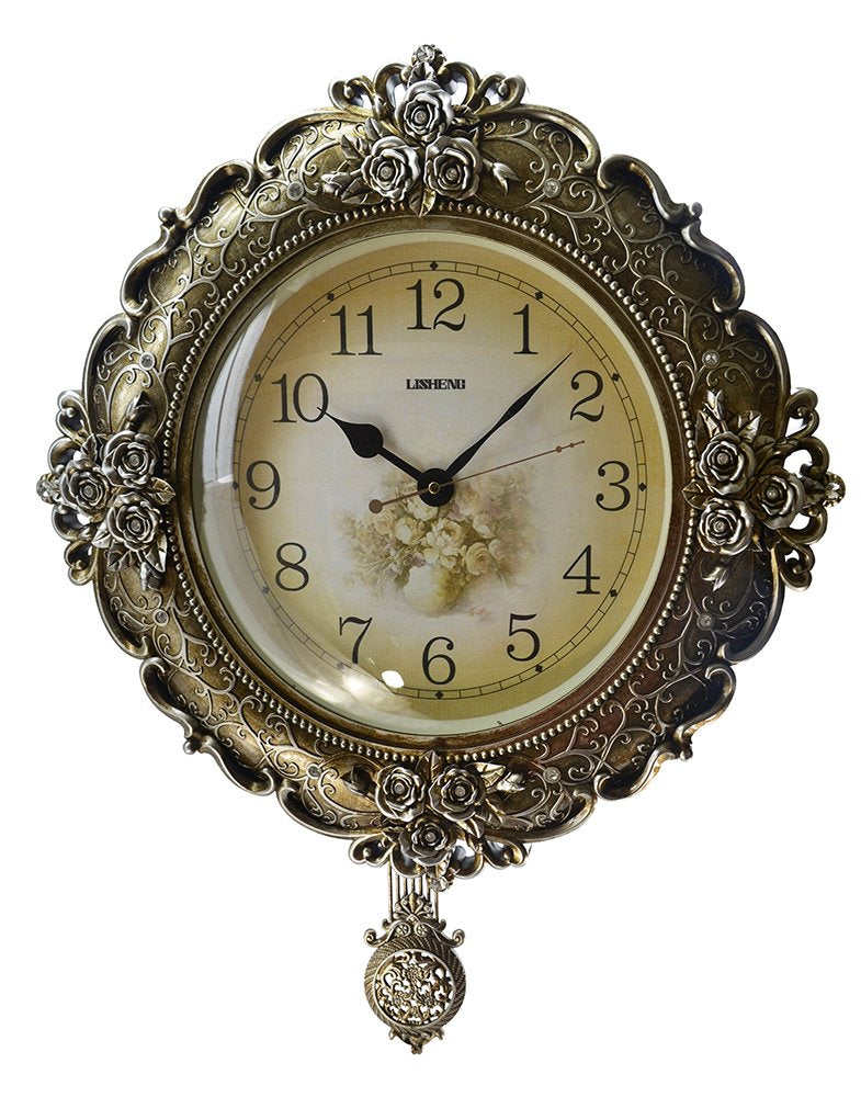 (D) Elegant Round Wall Clock 20 inches with Pendulum Mechanism