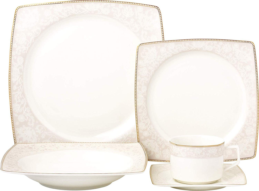 Royalty Porcelain Fancy Square Design 20-pc Dinnerware Set 'Pink Blossom', Premium Bone China Porcelain