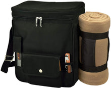 (D) Wine and Cheese Cooler Tote, Picnic Backpack Bag with Blanket (Black)