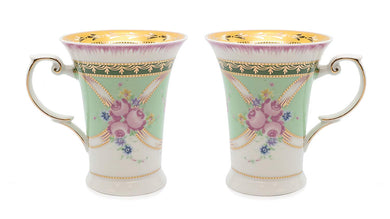 Royalty Porcelain 2-pc Mug for Tea or Coffee, Fine Bone China (Floral Green)
