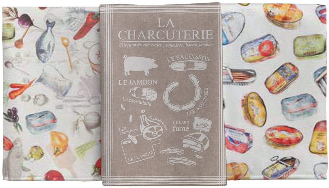 (D) Vintage French Style Kitchen Towels, Cotton Tea Towels 3-Pc (Kit #10)