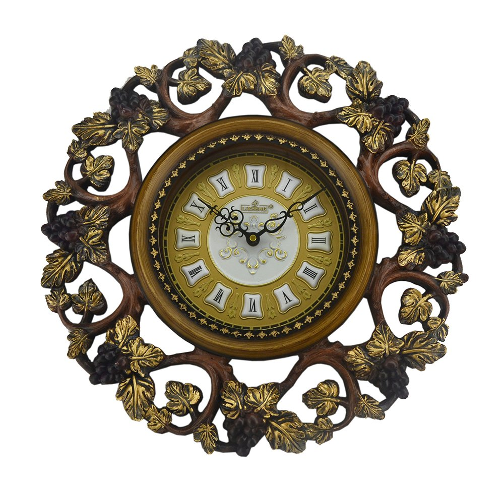 (D) Ornate Round Wall Clock 19 inches with Grape Vine