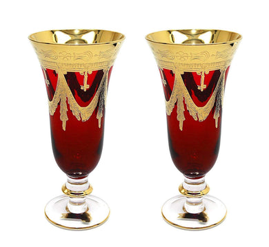 Interglass Italy Set of 2 Crystal Glasses, Gold-Plated (Champagne Flutes, Red)