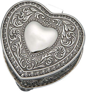 GIFTS PLAZA (D) Vintage Jewelry Box for Girls Silver Jewelry Trinket Box in Shape of Heart