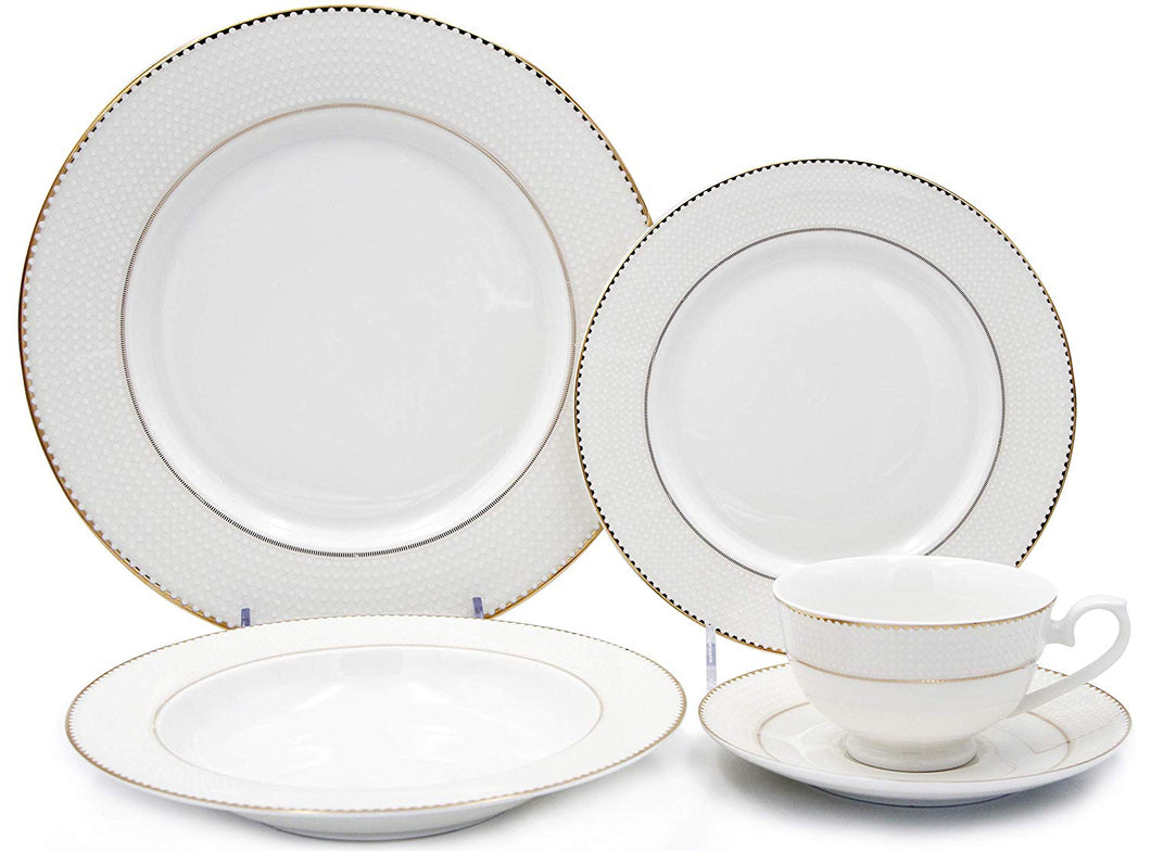 Royalty Porcelain Vintage White Dot Gold Rim 5-pc Place Setting 'Pamela', Premium Bone China Porcelain