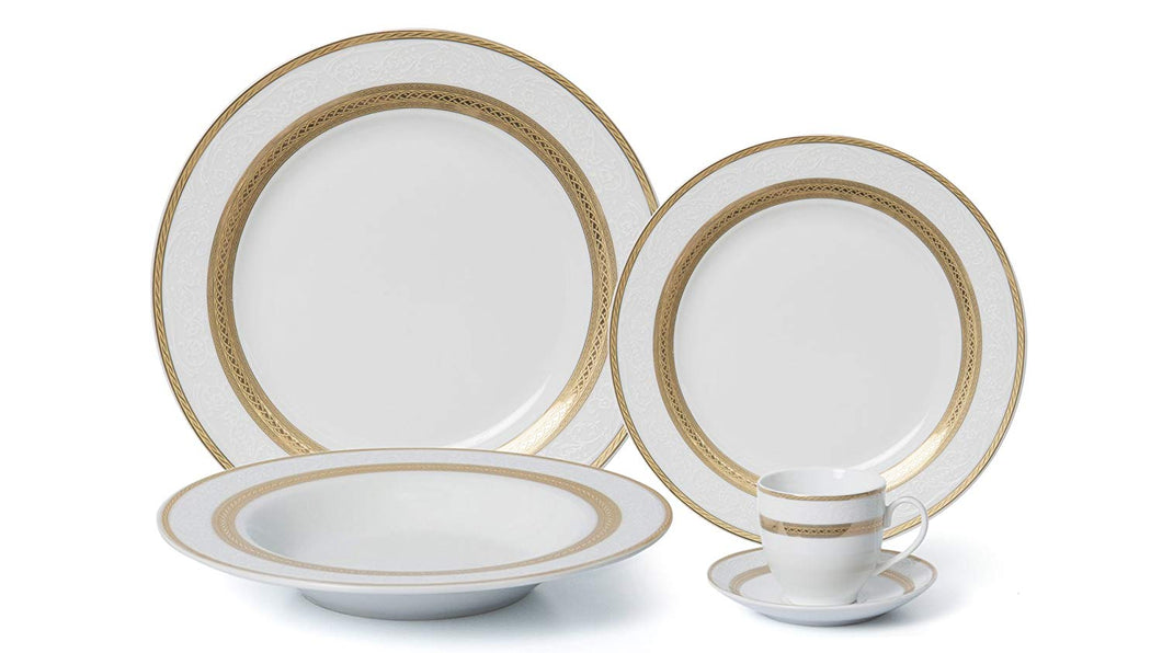 Royalty Porcelain 20-pc Dinner Set for 4, 24K Gold, Premium Bone China (G093-20)