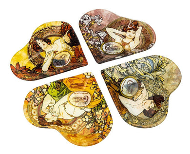Carmani Painters Elegant 4-pc Trays Set in shape of Heart Mucha Collection