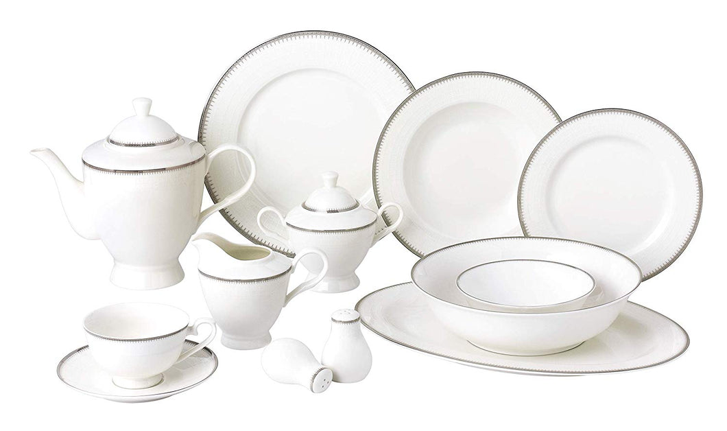 Royalty Porcelain Vintage Platinum Pattern 57-pc Dinnerware Set 'Royal Silver', Premium Bone China