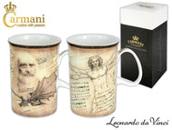 Carmani Painters 2pc Tea Cup or Mug Set, Leonardo Da Vinci Porcelain (Mona Lisa)