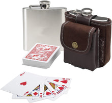 (D) Silver Hip Flask and Playing Cards Set, Birthday Gift for Him