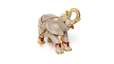 Trinket Jewelry Box with Swarovski, Decorative Figurines Gold Elephant (Large)