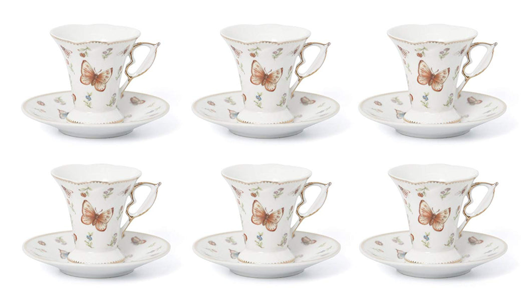 Royalty Porcelain 12pc Espresso Coffee Set for 6, 24K Gold Bone China (FA540-12)