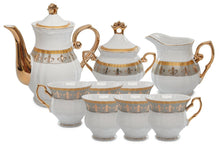 Royalty Porcelain 15pc Fleur-de-Lis Tea Set, Service for 6, Bone China Tableware
