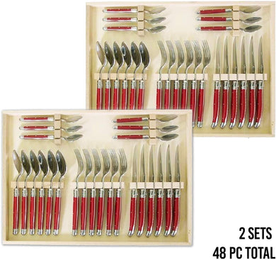 (D) Laguiole Flatware Set with Red Handles in Clasp Box 24-pc, Vintage 2 PACK