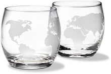 Denizli Etched Globe DOF 10 Oz Whisky Glasses, Liquor Glassware, Set of 4