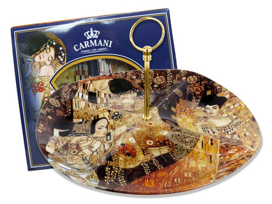 Carmani Painters Round Tray Gustav Klimt Collection, The Kiss, Adele Portrait