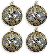 (D) Handmade Gold and Clear Paisley Glass Ornament Christmas Tree Decoration 4pc