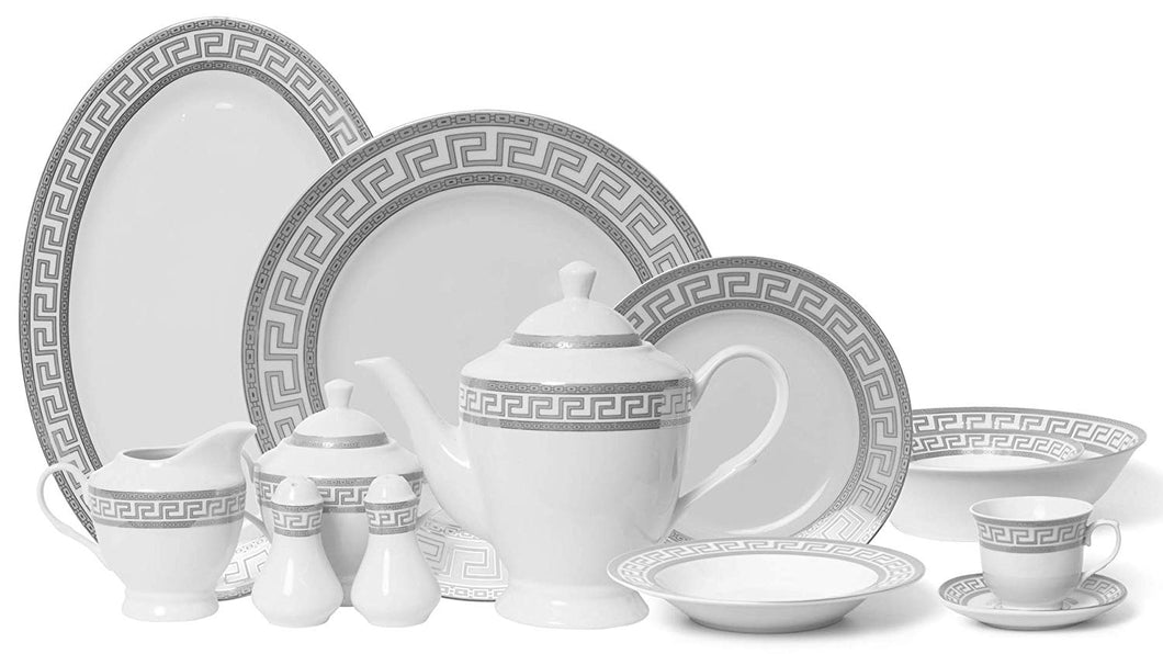 Royalty Porcelain Vintage Platinum 57-pc Dinnerware Set 'Greek Key Silver', Premium Bone China