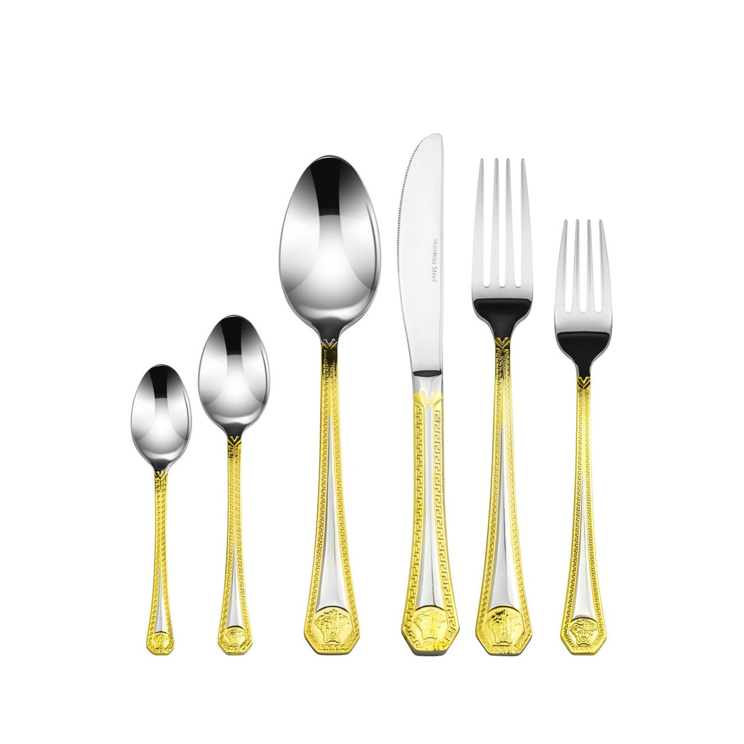 Italian Collection 20pc Premium Stainless Steel Flatware Set 18/10, Gold-Plated
