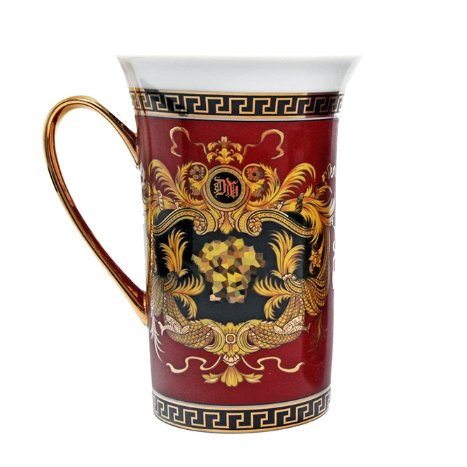 Royalty Porcelain 1-pc Red Coffee or Tea Cup Mug 12 oz, Luxury Greek Key Medusa