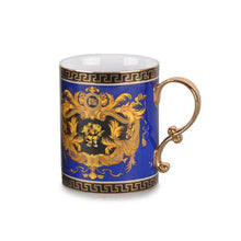 Royalty Porcelain 2-pc Blue Coffee or Tea Cup Mug, Medusa Greek Key, 13 oz