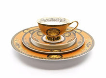 Royalty Porcelain Luxury 5-pc YELLOW Dinner Set for 1 person, Medusa Greek Key