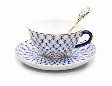 Lomonosov Ornament Tea or Coffee Cup, Russian Saint Petersburg Cobalt Blue Net