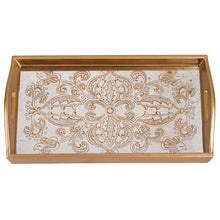 "(D) Serving 'Manta Gold' Rectangle Tray 12.5""L, Premium Quality Wooden Frame"