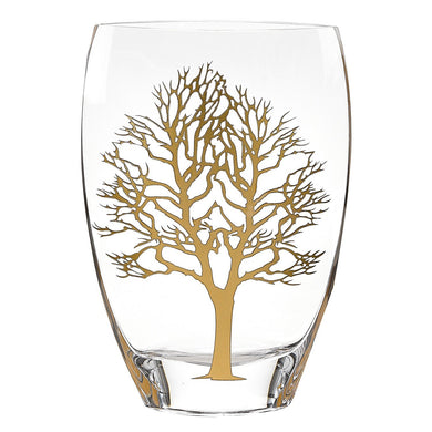 (D) Handcrafted 'Gold Tree of Life' Decorative Crystal Glass Flower Vase 8