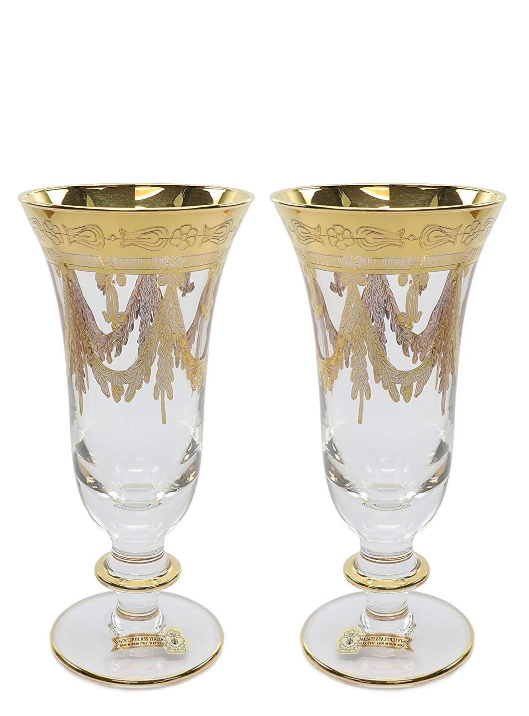 Interglass Italy 2pc Luxury Crystal Glasses, 24K Gold-Plated (Champagne)