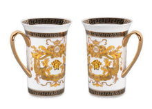 Royalty Porcelain 2-pc White Coffee/Tea Cup Mug, Medusa Greek Key, 12 oz