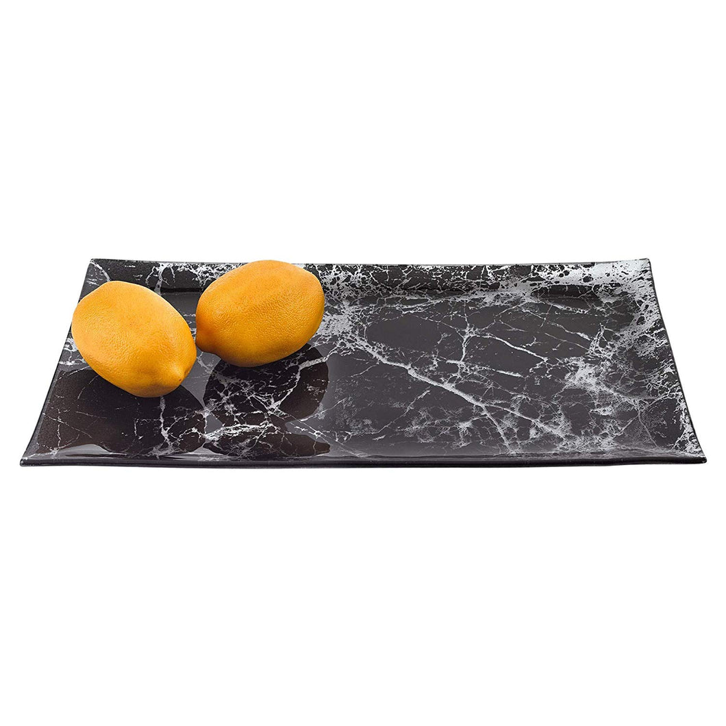(D) Black Marble Glass Rectangular Serving Tray 16