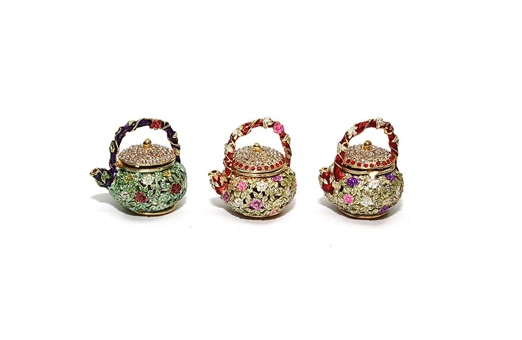Decorative Enameled Figures, Jewelry Box with Swarovski Crystal (Teapots)