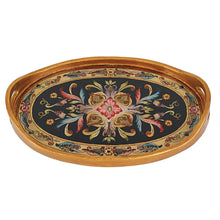 "(D) Serving 'Gemstone Black' Oval Tray 12""W, Premium Quality Wooden Frame"