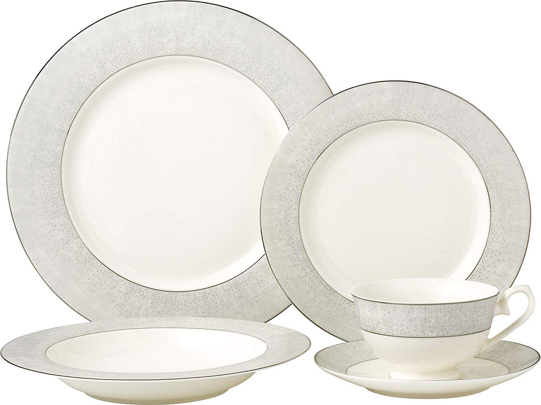 Royalty Porcelain Classic Silver 5-pc Place Setting 'Platinum Band', Premium Bone China Porcelain
