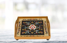 "(D) Serving 'Gemstone Black' Square Tray 12""L, Premium Quality Wooden Frame"