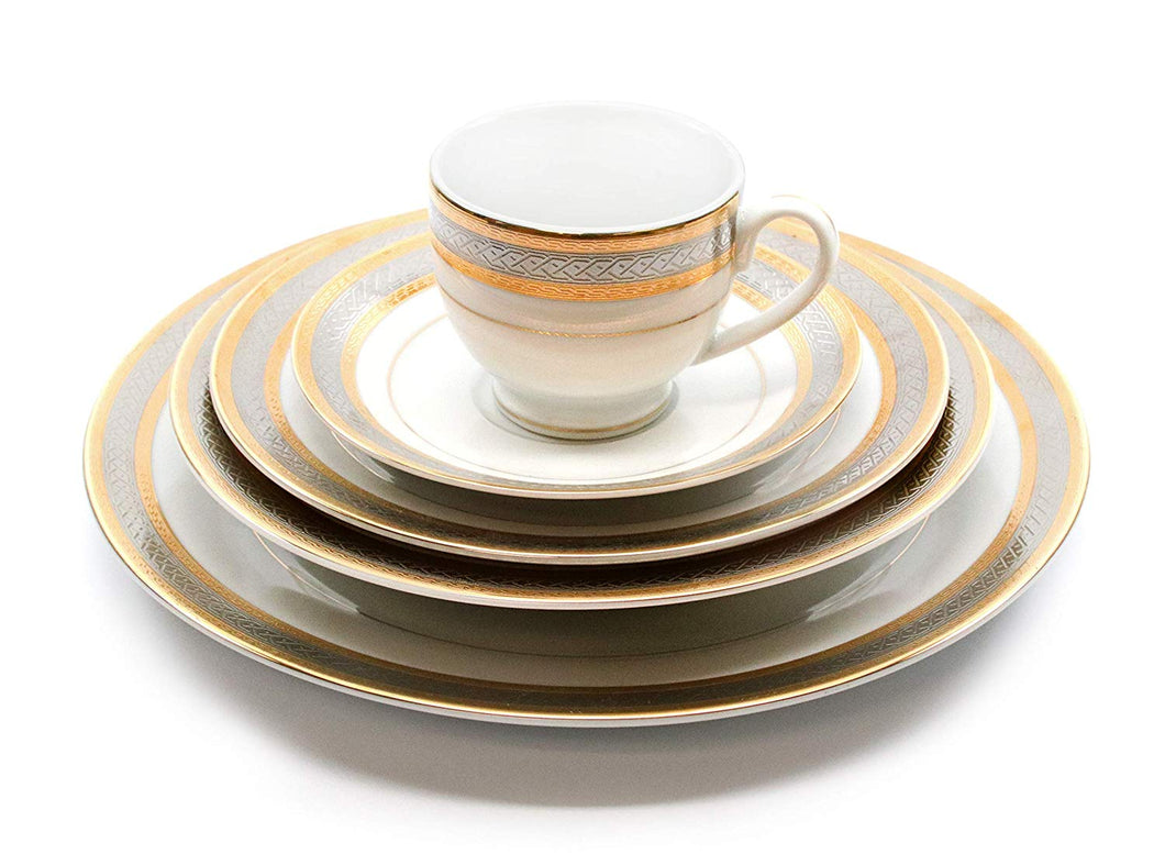 Royalty Porcelain Silver and Gold 5-pc Place Setting 'Damascus', Premium Bone China