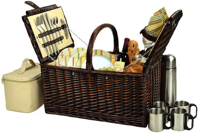 (D) Buckingham Basket for 4 with Coffee Set for Outdoor (Yellow)