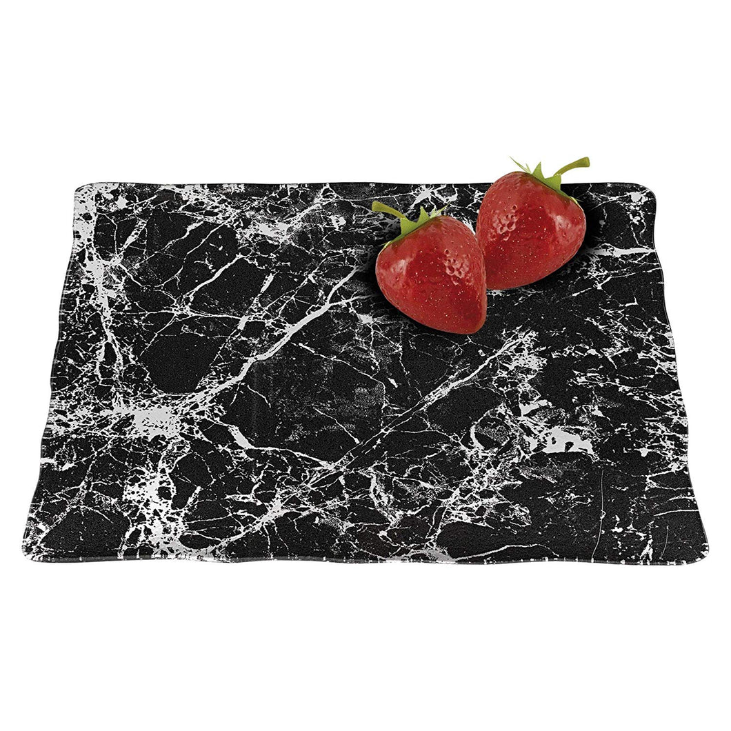 (D) Black Marble Glass Square Serving Tray 12